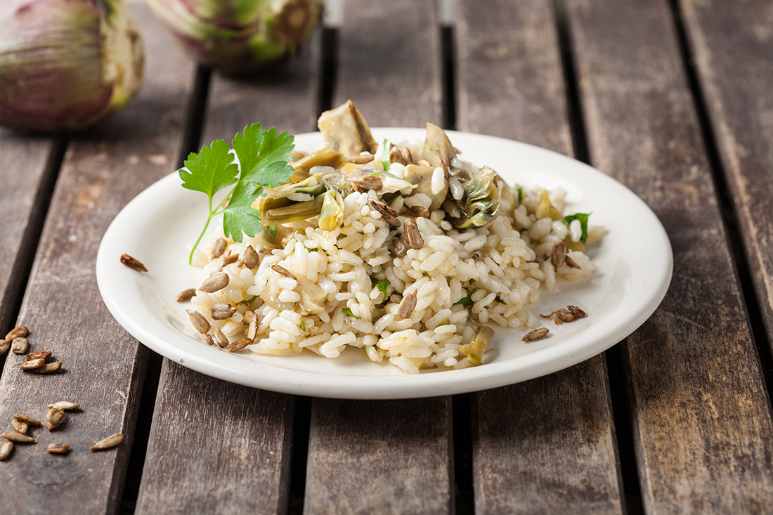arroz con alcachofas